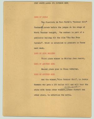 Primary view of object titled '[News Script: Fort Worth names its Outdoor Girl]'.