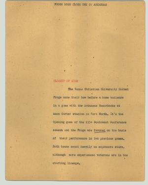Primary view of object titled '[News Script: Frogs lose close one to Arkansas]'.
