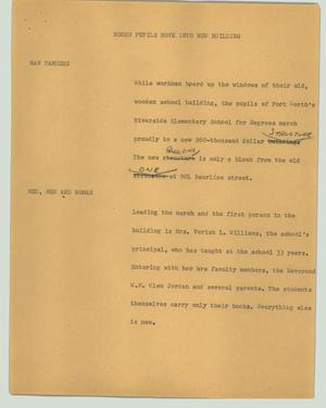 Primary view of object titled '[News Script: Negro pupils move into new building]'.