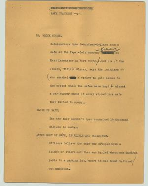 Primary view of object titled '[News Script: Safe crackers]'.