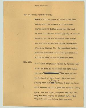 Primary view of object titled '[News Script: Lost boy]'.