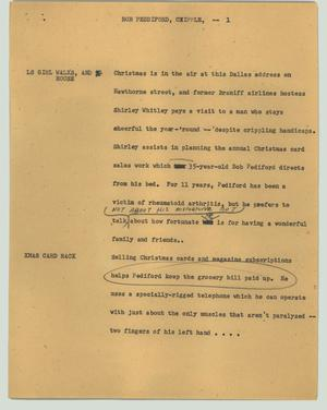 Primary view of object titled '[News Script: Bob Peddiford, cripple]'.