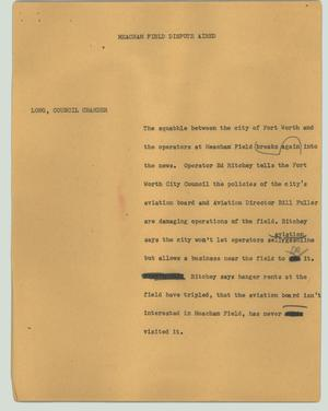 Primary view of object titled '[News Script: Meacham Field dispute aired]'.