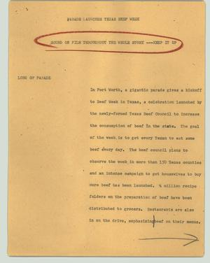 Primary view of object titled '[News Script: Parade launches Texas Beef Week]'.