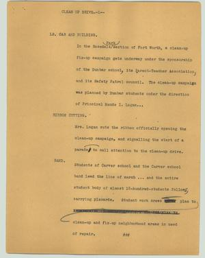 Primary view of object titled '[News Script: Clean up drive]'.