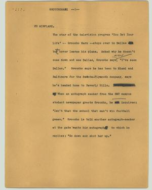 Primary view of object titled '[News Script: Grouchomarx]'.