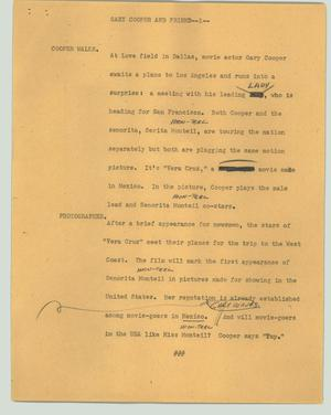 Primary view of object titled '[News Script: Gary Cooper and friend]'.