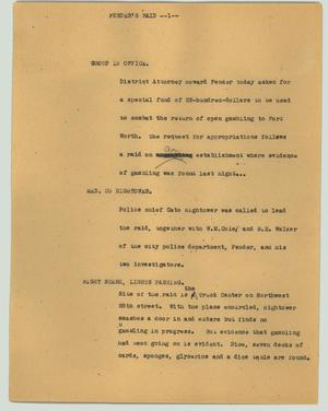 Primary view of object titled '[News Script: Fender's Raid]'.