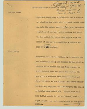 Primary view of object titled '[News Script: Accused assaulted wounded by officer]'.