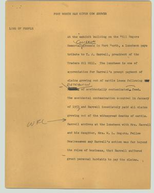 Primary view of object titled '[News Script: Fort Worth man given cow shower]'.