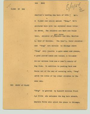 Primary view of object titled '[News Script: Dog Hero]'.