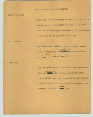 Primary view of object titled '[News Script: Three TCU cadets are commissioned]'.