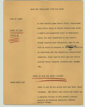 Primary view of object titled '[News Script: Back Ike (boom, boom) vote for Alger]'.