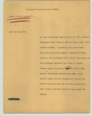 Primary view of object titled '[News Script: Dallasite claims he was Pachuco]'.