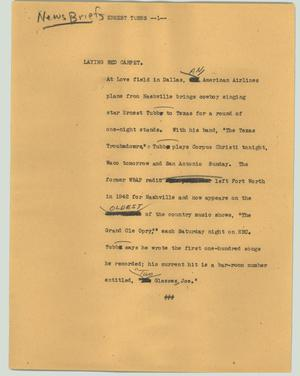 Primary view of object titled '[News Script: Ernest Tubbs]'.