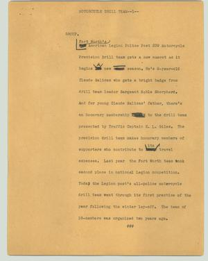 Primary view of object titled '[News Script: Motorcycle drill team]'.