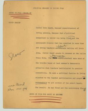 Primary view of object titled '[News Script: Politics charged in Irving fuss]'.