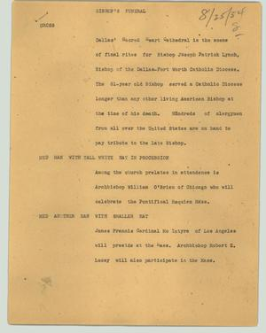 Primary view of object titled '[News Script: Bishop's funeral]'.