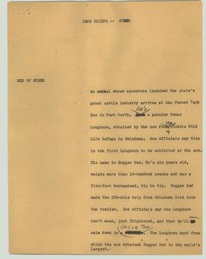 Primary view of object titled '[News Script: Steer]'.