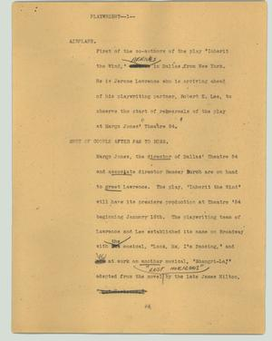 Primary view of object titled '[News Script: Playwright]'.
