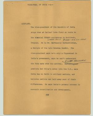 Primary view of object titled '[News Script: Vice-Pres. of India]'.