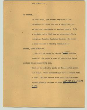 Primary view of object titled '[News Script: Dog party]'.