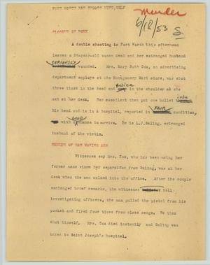 Primary view of object titled '[News Script: Fort Worth man shoots wife, self]'.