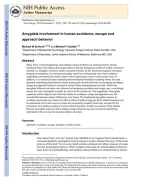 Amygdala involvement in human avoidance, escape and approach behavior