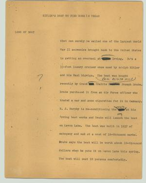 Primary view of object titled '[News Script: Hitler's boat to find home in Texas]'.