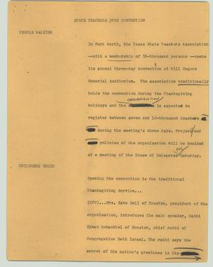 Primary view of object titled '[News Script: State teachers open convention]'.