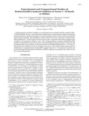 Experimental and Computational Studies of Ruthenium(II)-Catalyzed Addition of Arene C-H Bonds to Olefins