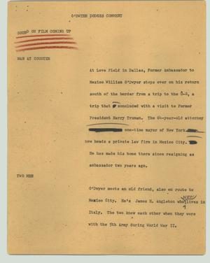 Primary view of object titled '[News Script: O'Dwyer dodges comment]'.