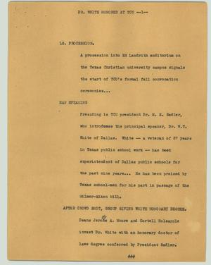Primary view of object titled '[News Script: Dr. White honored at TCU]'.