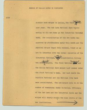 Primary view of object titled '[News Script: Merger of Dallas banks is completed]'.