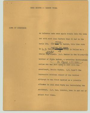Primary view of object titled '[News Script: Barrow trial]'.