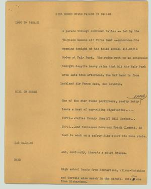 Primary view of object titled '[News Script: Girl rodeo stars parade in Dallas]'.
