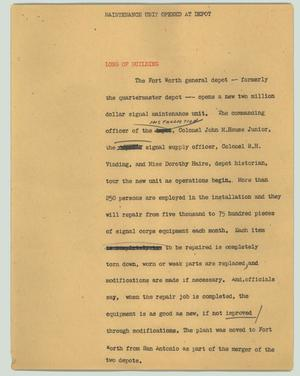 Primary view of object titled '[News Script: Maintenance unit opened at depot]'.