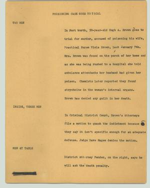 Primary view of object titled '[News Script: Poisoning case goes to trial]'.