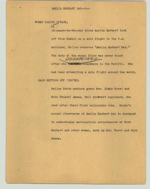 Primary view of object titled '[News Script: Ameliea Earhart Day]'.
