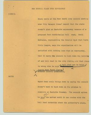 Primary view of object titled '[News Script: New council clash over expressway]'.