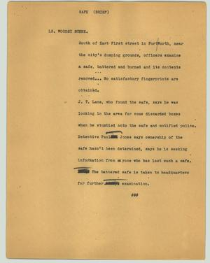 Primary view of object titled '[News Script: Safe (brief)]'.