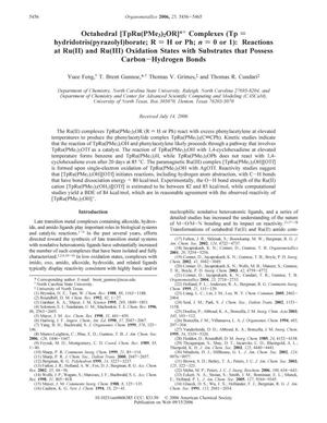 Octahedral [TpRu(PMe3)2OR]n+ Complexes (Tp = hydridotris(pyrazolyl)borate; R = H or Ph; n = 0 or 1): Reactions at Ru(II) and Ru(III) Oxidation States with Substrates that Possess Carbon-Hydrogen Bonds