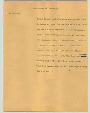 Primary view of object titled '[News Script: News briefs - Dandridge]'.