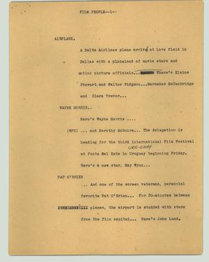 Primary view of object titled '[News Script: Film people]'.