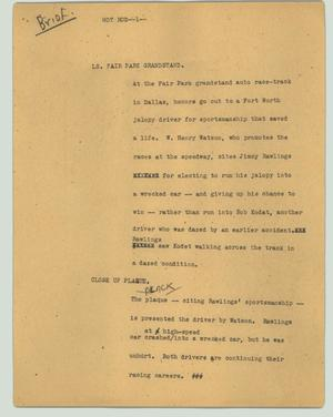Primary view of object titled '[News Script: Hot rod]'.