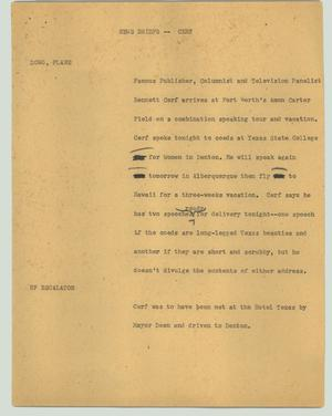 Primary view of object titled '[News Script: News briefs - Cerf]'.