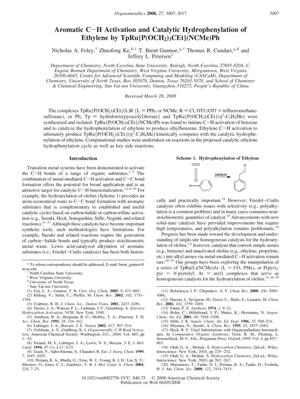 Primary view of object titled 'Aromatic C-H Activation and Catalytic Hydrophenylation of Ethylene by TpRu{P(OCH2)3CEt} (NCMe)Ph'.