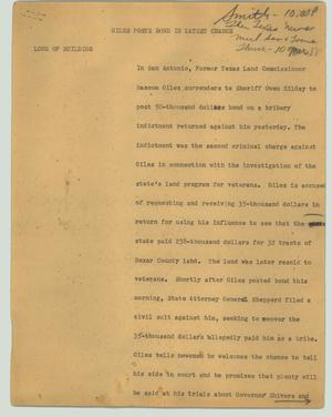 Primary view of object titled '[News Script: Giles posts bond in latest charge]'.