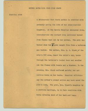 Primary view of object titled '[News Script: Mother saves girl from fire death]'.