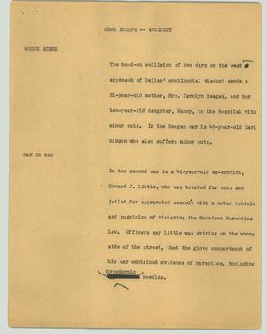 Primary view of object titled '[News Script: News briefs - Accident]'.